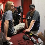 Joshua Collingworth prepares to shoot getaway scene in the hall.